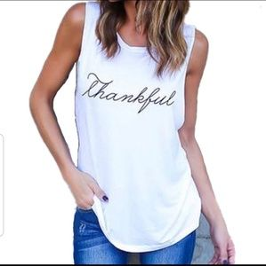 "NEW ""THANKFUL""  White Soft Tank"